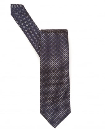 Mens Tie, Slatted Geometric Navy Gold Silk Tie