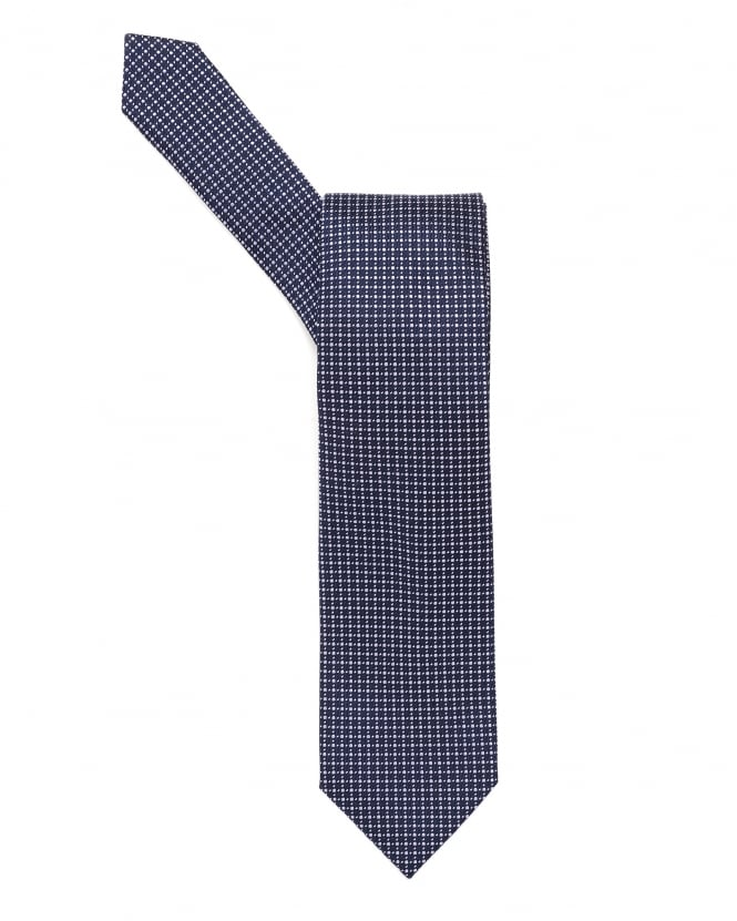 Hugo Boss Black Mens Tie, Small Dotted Navy Blue Lilac Tie