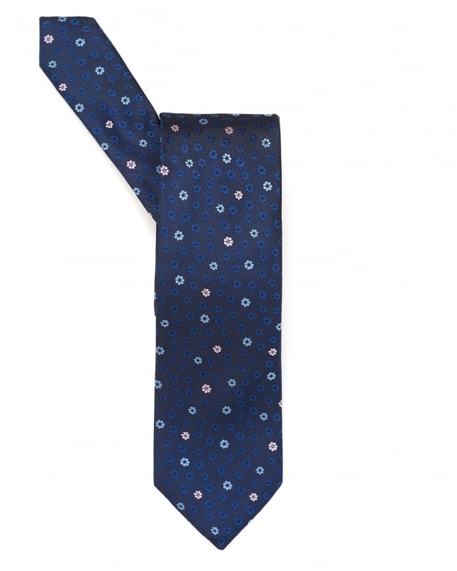 BOSS Business Mens Tie, Small Floral Navy Blue Silk Tie