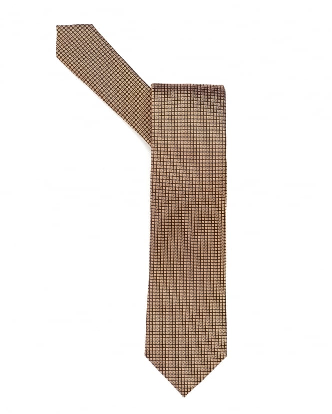 Hugo Boss Black Mens Tie, Square Geometric Patterned Gold Tie