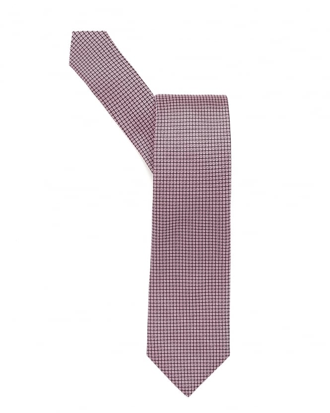 Hugo Boss Black Mens Tie, Square Geometric Patterned Pink Tie