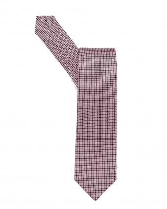 Mens Tie, Square Geometric Patterned Pink Tie