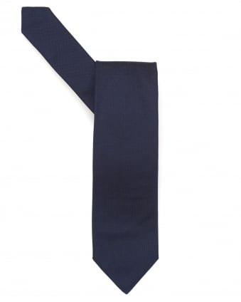 Mens Tie, Textured Plain Navy Blue Silk Tie