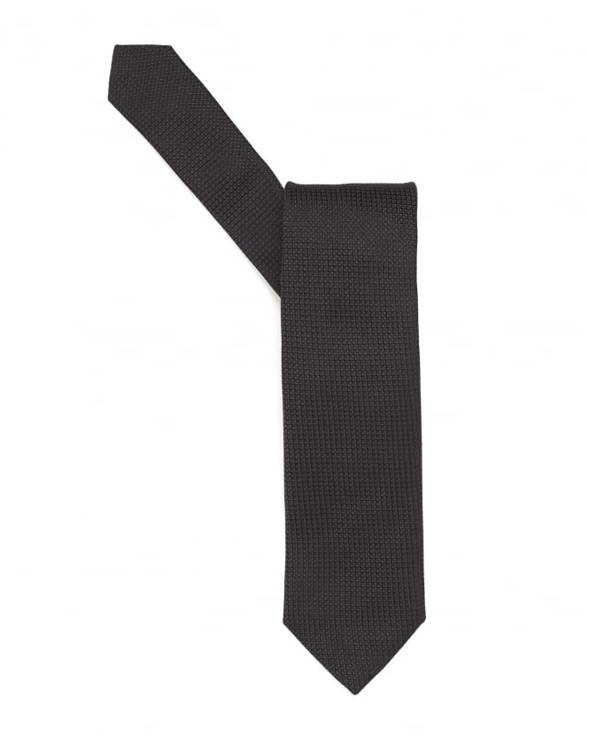Hugo Boss Black Mens Tie, Textured Pure Silk Black Tie