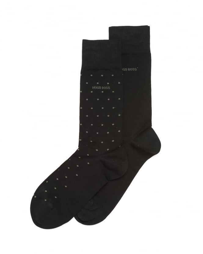 Hugo Boss Black Mens Twopack RS Design Socks, Black Spot Logo Ankle Socks