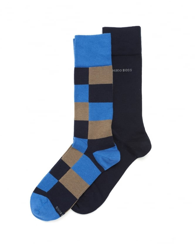 Hugo Boss Black Mens Twopack RS Design Socks, Blue Logo Ankle Socks