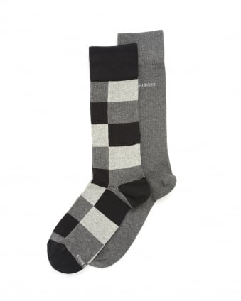 Mens Twopack RS Design Socks, Grey Logo Ankle Socks