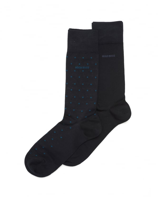 Hugo Boss Black Mens Twopack RS Design Socks, Navy Blue Spot Logo Ankle Socks
