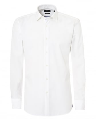 Mens White Jerris Slim Fit Inner Trim Shirt