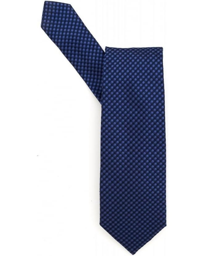 Hugo Boss Black Navy Blue Textured Diamond Checked Silk Tie