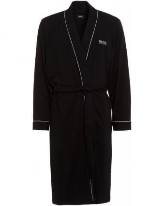 Piped Detail Black Dressing Gown