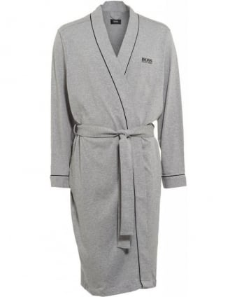 Piped Detail Grey Dressing Gown