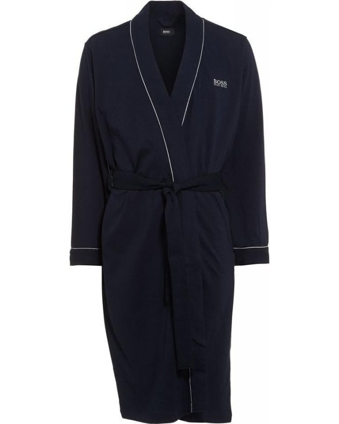 Hugo Boss Black Piped Detail Navy Blue Dressing Gown