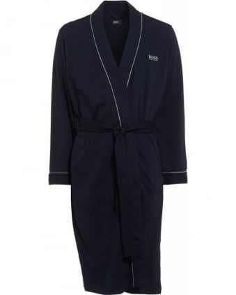 Piped Detail Navy Blue Dressing Gown