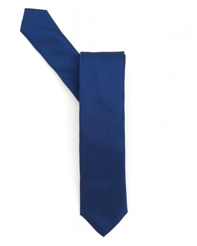 Hugo Boss Black Plain Blue Silk Tie