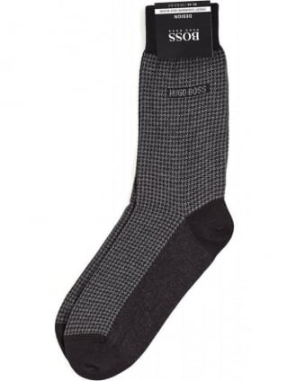 RS Design Black Hounds-Tooth Cotton and Cashmere Socks