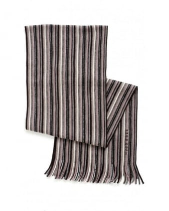 Scarf, Chocolate Multi Stripe 'Fadon' Wool Scarf