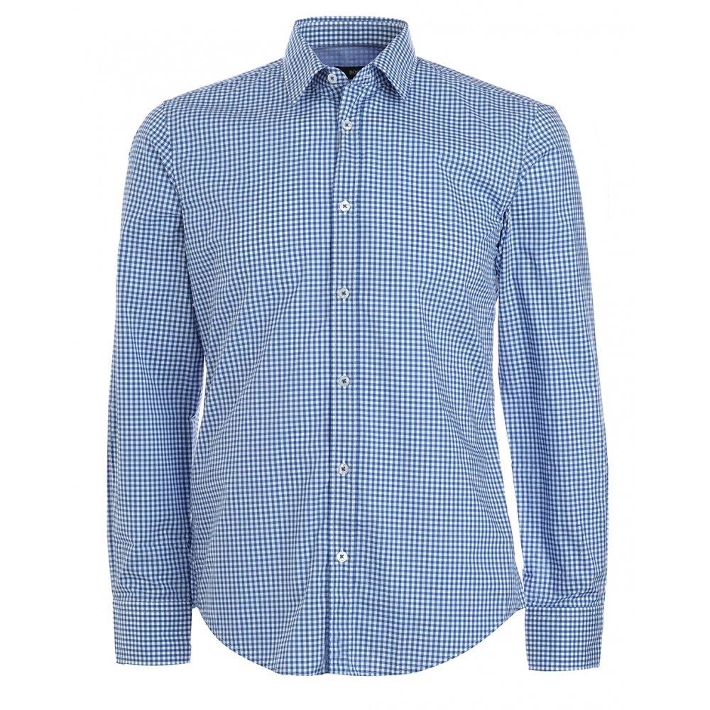 Shirt, Blue Gingham Check Slim Fit 'Ronny-32&#039