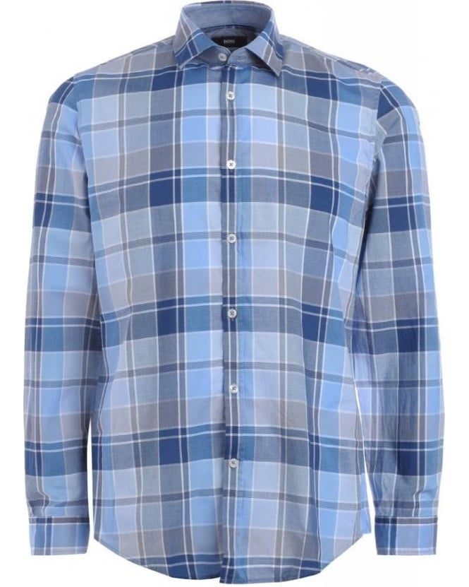 BOSS Business Shirt, Blue Large Check Regular Fit 'Lok 2' Shirt