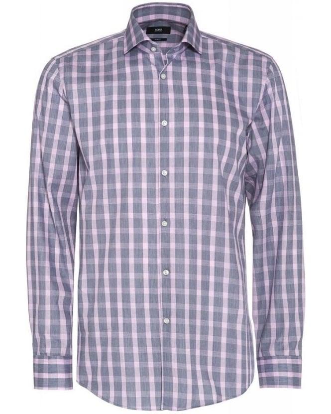 Hugo boss black shirt 39 jason 39 grey pink check slim fit shirt for Hugo boss jason shirt