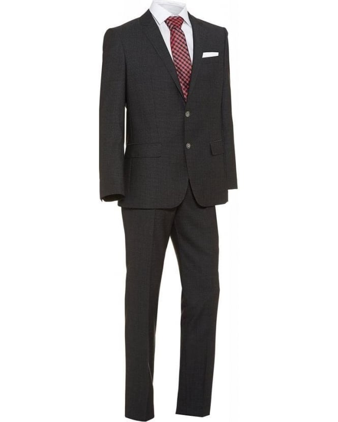 Hugo Boss Black Slim Fit New Wool Suit Hutson2 Gander Dark Grey Suit