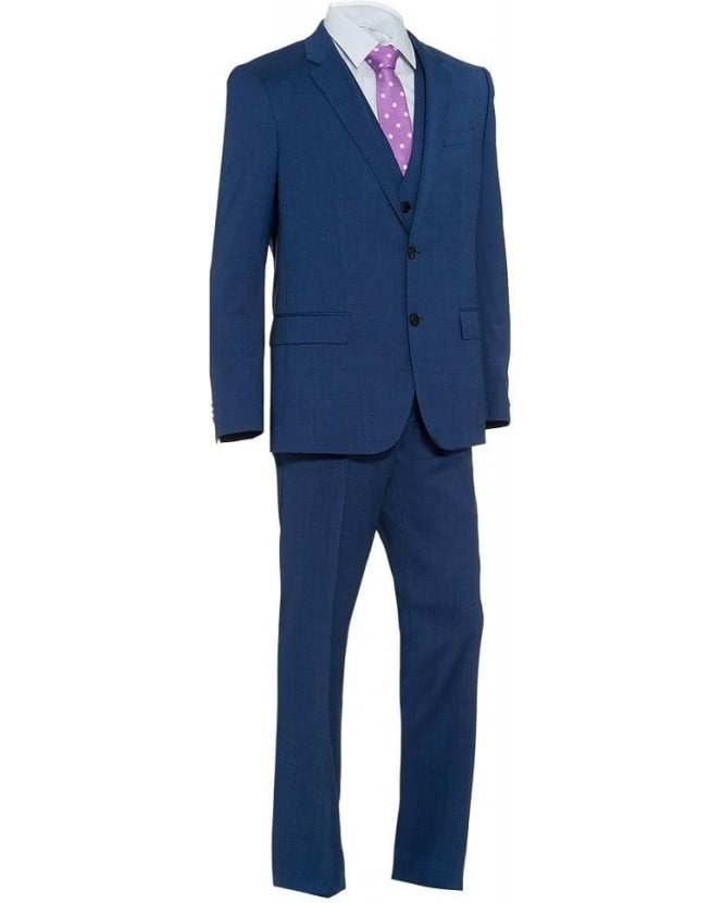 Hugo Boss Black Three Piece 'Huge Genius' Mid Blue Super 120 Suit