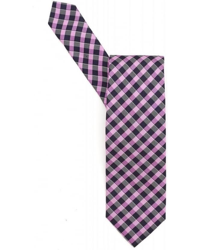 Hugo Boss Black Tie Purple Navy Diagonal Check Silk Tie