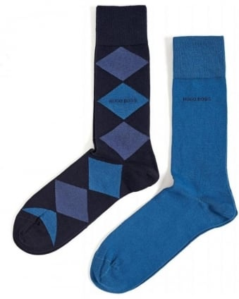 Two Pack Diamond and Plain Blue Socks