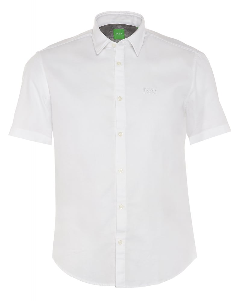 C-Busterino Mens Short Sleeve Shirt White Regular Fit Shirt