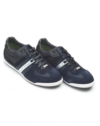 Mens Akeen Suede Mix Navy Blue Trainers