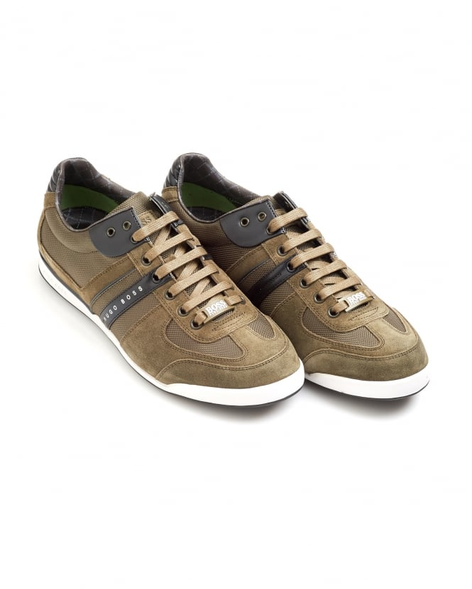 Hugo Boss Green Mens Akeen Trainers, Khaki Green Sneakers