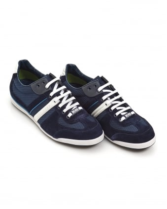 Mens Akeen Trainers, Suede Mesh Mix Navy Blue Sneakers