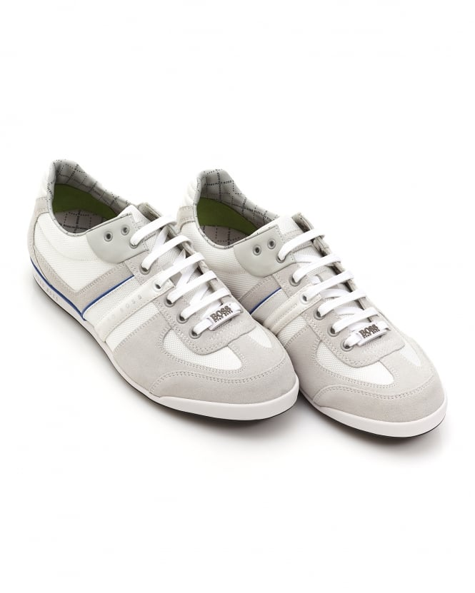 Repertoire Fashion Hugo Boss Green Mens Akeen Trainers, Suede Mesh Mix White Sneakers