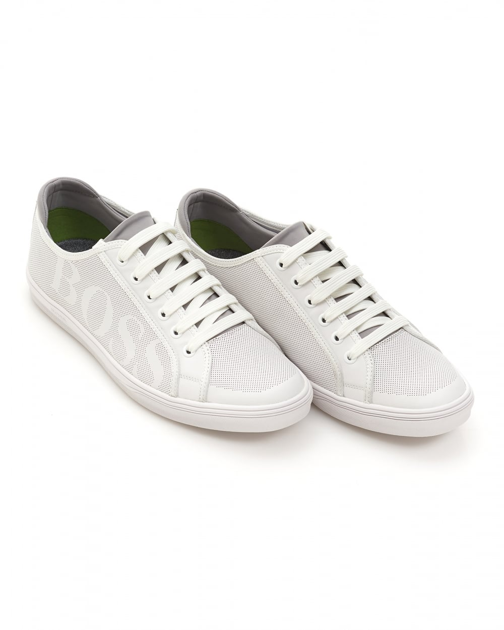 Mens Attitude Ten Trainers, Perforated Tonal Leather White Sneakers