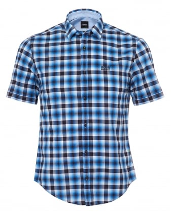Mens Barn_R Check Micro Dot Trim Navy Sky Shirt