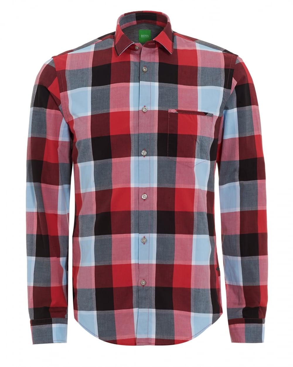 Hugo Boss Green Mens C Bansi Shirt Grey Red Checked Shirt