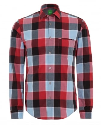 Mens C-Bansi Shirt, Grey Red Checked Shirt