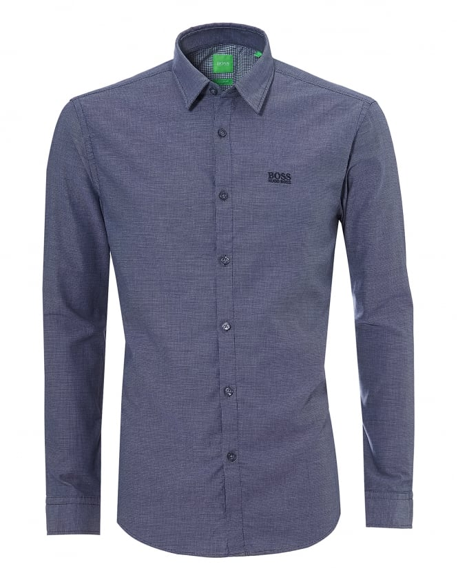 Hugo Boss Green Mens C-Buster R Pin Dot Check Navy Blue Shirt