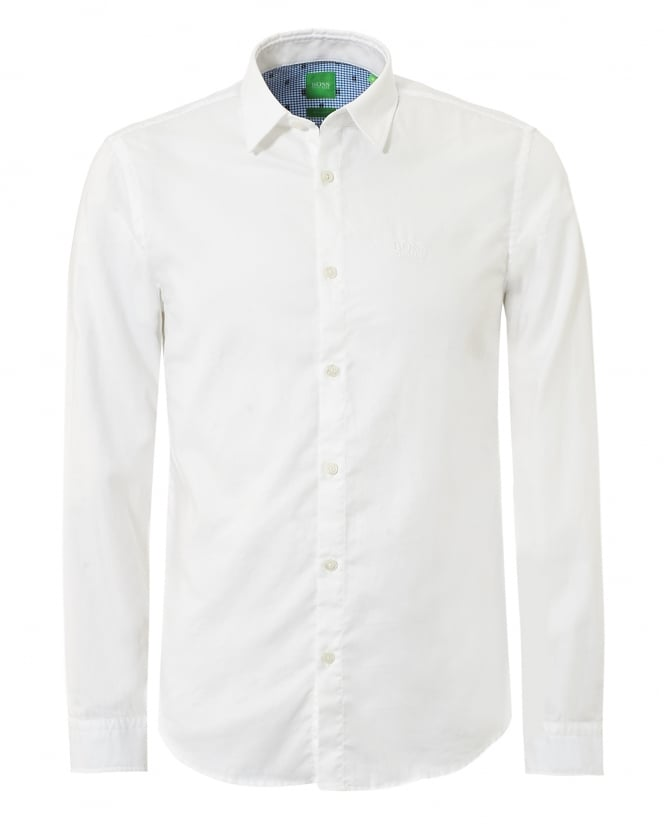 Hugo Boss Green Mens C-Buster R Pin Dot Check White Shirt