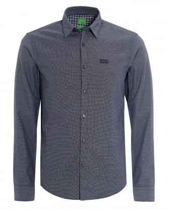 Mens C-Buster Shirt, Regular Fit Fine Dot Navy Blue Shirt