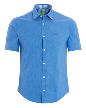 Mens C-Busterino Shirt, Short Sleeve Fine Dot Blue Shirt