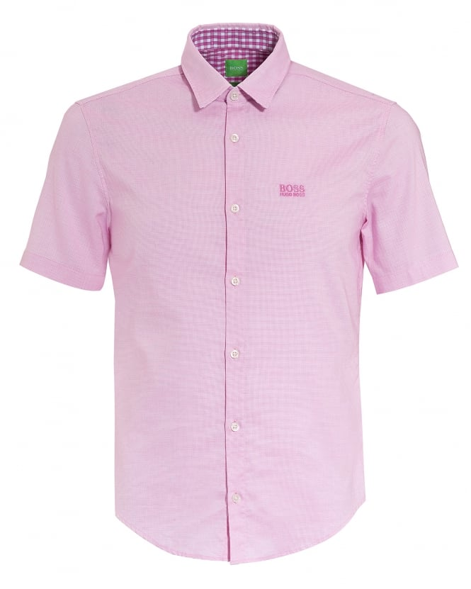 Hugo boss green mens c busterino short sleeve fine dot for Mens pink shirts uk
