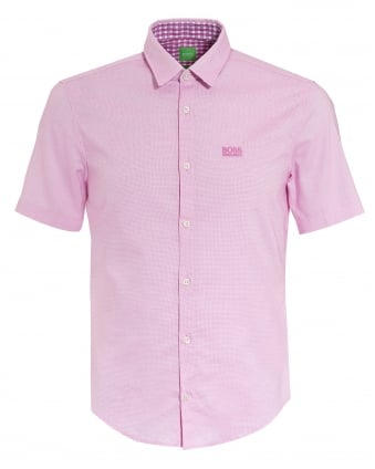 Mens C-Busterino Shirt, Short Sleeve Fine Dot Pink Shirt