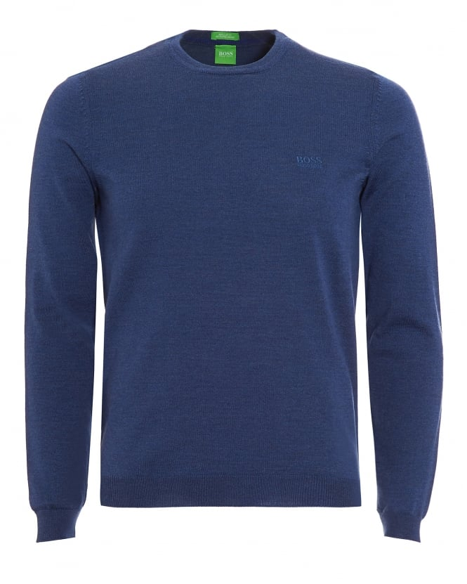 Hugo Boss Green Mens C-Caio Jumper, Open Blue Fine Knit Sweater