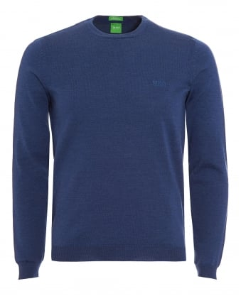 Mens C-Caio Jumper, Open Blue Fine Knit Sweater