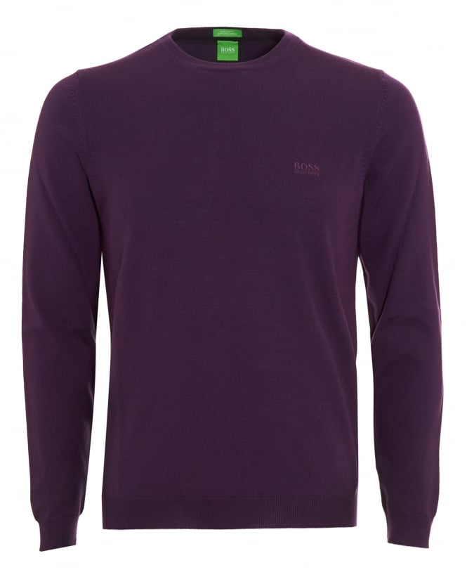 Hugo Boss Green Mens C-Caio Jumper, Purple Fine Knit Sweater