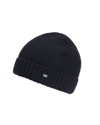 Mens C-Fati 2 Ribbed Wool Black Beanie Hat