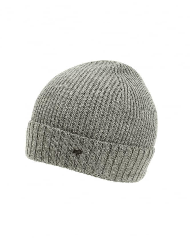 Hugo Boss Green Mens C-Fati 2 Ribbed Wool Grey Beanie Hat