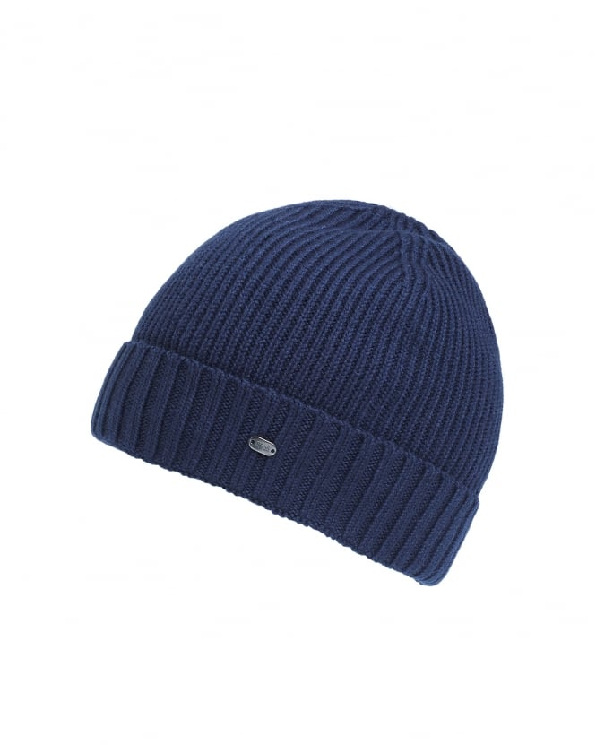 Hugo Boss Green Mens C-Fati 2 Ribbed Wool Navy Blue Beanie Hat