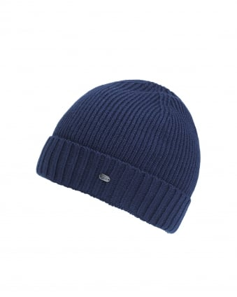 Mens C-Fati 2 Ribbed Wool Navy Blue Beanie Hat